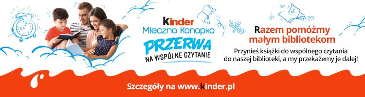 Baner promujący akcję Kinder Mleczna Kanapka. Przerwa na wspólne czytanie. Na zdjeciu rodzina z dwójką dzieci, którzy wspólnie czytają książkę