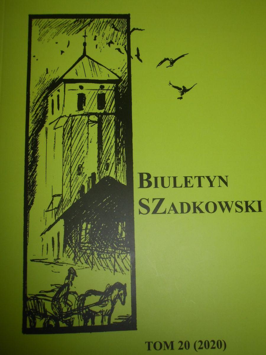 Zdjęcie przedstawia okładkę najnowszego Biuletynu Szadkowskiego t.20. Okładka koloru zielonego, na któej jest grafika zabytkowej dzwonnicy