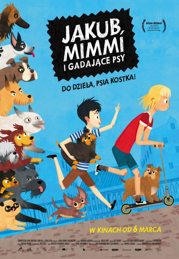 Plakat reklamujący film Jakub, Mimmi i gadajace psy. Na zdjęciu bohaterzy filmu, plakat w kolorze niebieskim