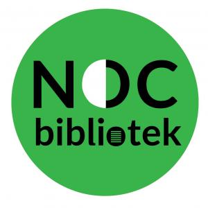 Okrągła grafika w kolorze zielonym. W środku napis Noc Bibliotek