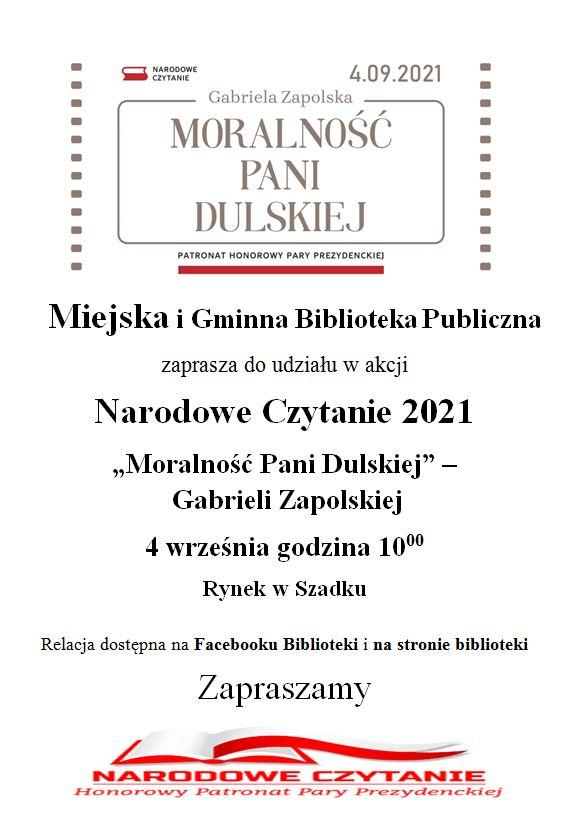 Narodowe Czytanie. U góry logo akcji. Niżej informacja o wydarzeniu. Na samym dole grafika Narodowego Czytania w kolorze czerwonym informująca, że wydarzenie jest objęte Honorowym Patronatem Pary Prezydenckiej. Grafika przedstawia książkę, a na niej umieszczona jest flaga Polski.